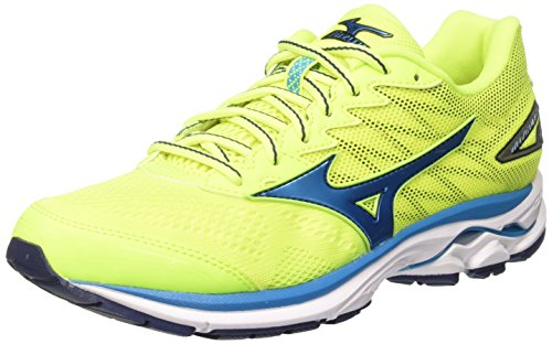 Mizuno Wave Rider, Scarpe da Corsa Uomo, Multicolore (SafetyYellow/AtomicBlue/BlueDepths), 44.5 EU