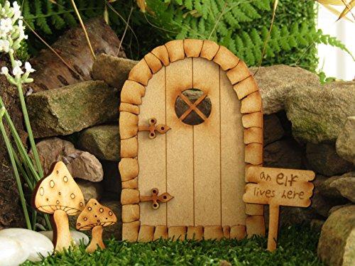 Pebble rund Fairy Tür. dreidimensionale Selbstmontage Kit Fairy Tür Craft Holz mit großer & kleiner Fliegenpilz & Elf Schild