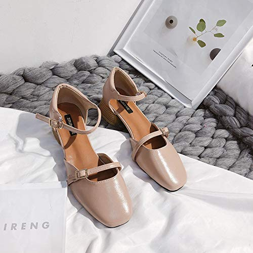 Uhrtimee Sandals Female Thick with 2019 New Spring and Summer Word Buckle with Mary Jane Shoes Korean Version with Retro Grandma Shoes, 36, Pink Elastic-strap Mary Janes