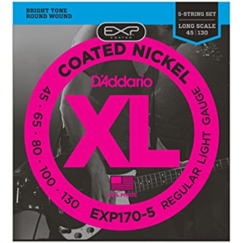 D'Addario EXP170-5 - Juego de cuerdas para bajo eléctrico de acero y níquel, .045 - .130