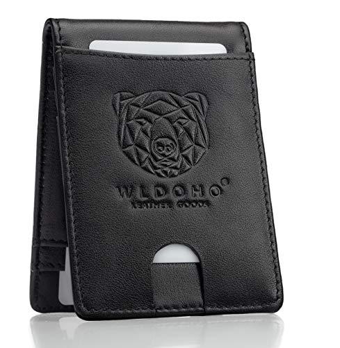 Premium Herren Geldbeutel mit 6 Karten Fächern I Portemonnaie mit Edelstahl Geldklammer I Echte Männer Geldbörse mit RFID Schutz I Das perfekte Slim-Wallet Kreditkartenetui & Kartenetui