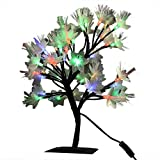CITRA Waterproof 0.45M/17.72 Inches 24 LEDs Cherry Blossom Desk Top Bonsai Tree Colorful Light with Power Adapter (Black, tree)