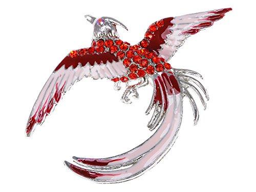 Alilang silberner Farbton rote Strass Hellrosa Phoenix Vogel Flügel Federn ()