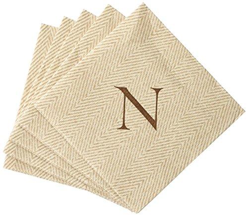Caspari Monogram Cocktail-Servietten mit Initiale N, Fischgrätmuster 30 Stück