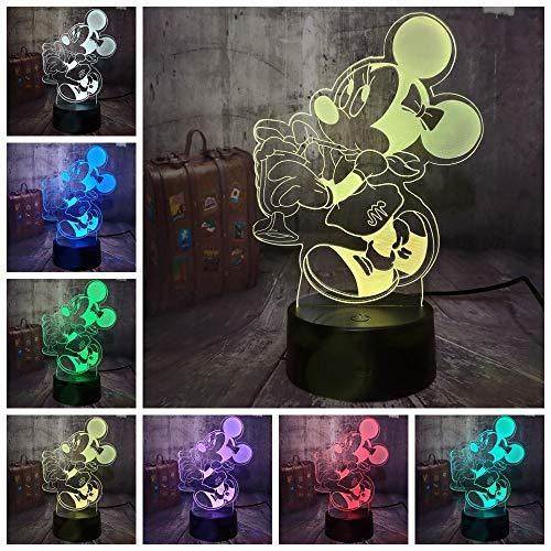 Nette Minnie Mouse 3D LED Nachtlicht 7 Farbe Schreibtischlampe Schlafzimmer Minnie Party Decor Baby Kinder Geburtstagsgeschenk