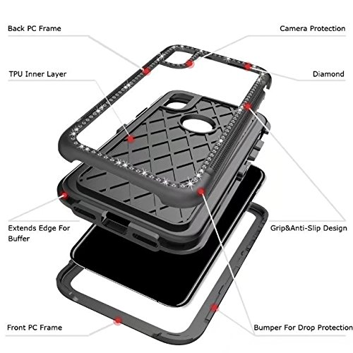 iPhone X Case, Armor Rugged Shockproof Protective Case with Air Bag Anti Drop Design, Soundmae Square Taxture Durable TPU Back Cover with Anti-Slip Edge for iPhone X [Black, Square] Diamond, Black Black