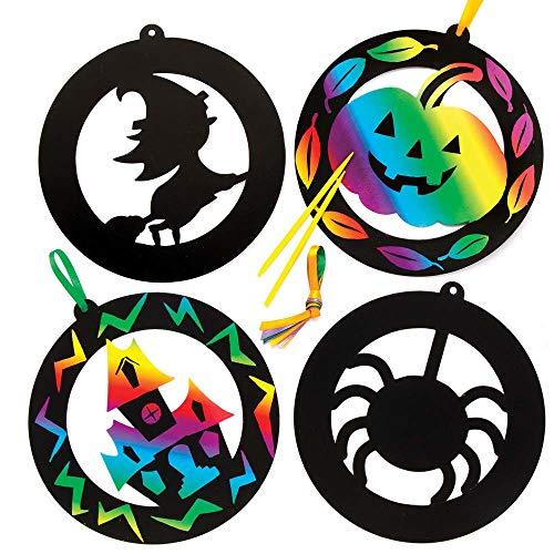 """Baker Ross Kratzbild-Anhänger """"Halloween"""" für Kinder – für Bastelarbeiten und Dekorationen zu Halloween (6 Stück)"""