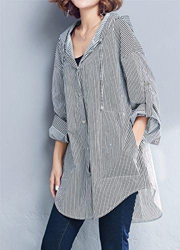 Luna et Margarita Chemise Femme à Rayures Noir et Blanc Chemisier en Mousseline Manche Longue style veste à capuche +rayure bleue blanche