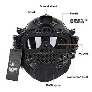 OneTigris Le Casque Du Type PJ Réglable Avec Les Lunettes Et Masque Du Facial Pour Airsoft Paintball