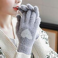 WWF Más Agregue Lana Guantes de Lana para Mujer Dedos de Invierno Cálidos Dedos de Pantalla Táctil Estudiantes Preciosos Guantes de Ciclismo Cálidos,Gris,Todo el código