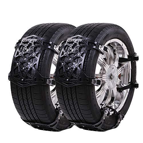 Uniauto catene da neve universali facili da montare catene da neve per pneumatici per gomme di dimensioni 165-285mm,confezione da 6, [aggiornato 2018] (nero)