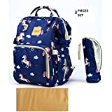 T-Bags Mommy And Baby Unicorn Large Backpack Diaper Bag Blue With Changing Mat And Bottle Cover-MB29U