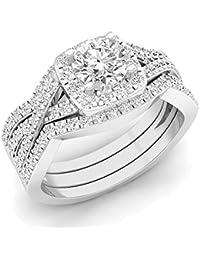 2,05 Carat (quilate) 14 K oro ronda cubic zirconia anillo de compromiso
