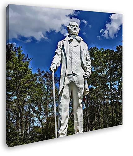 Statur des Sam Houston Format: 60x60 Effekt: Zeichnung als Leinwandbild, Motiv auf Echtholzrahmen, Hochwertiger Digitaldruck mit Rahmen, Kein Poster oder Plakat -