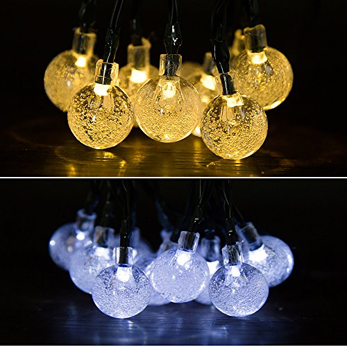 OxyLED Solar String Lights, (20Ft, 2 Modes, 30 LED) Solar Crystal Ball String Lights, Indoor Outdoor Globe Fairy String Lights Starry Lights, for Garden, Home, Wedding, Patio, Summer / Holiday Party (White)