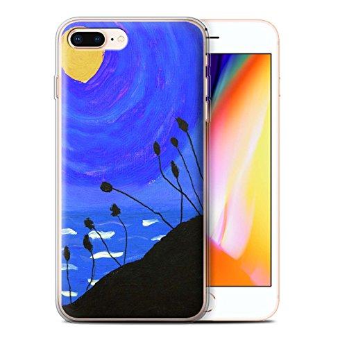 Stuff4 Gel TPU Hülle / Case für Apple iPhone 8 Plus / Orange Muster / Sonnenuntergang Ölgemälde Kollektion Blau
