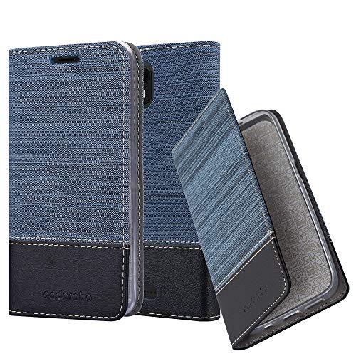 Cadorabo Hülle für WIKO View GO - Hülle in DUNKEL BLAU SCHWARZ – Handyhülle mit Standfunktion und Kartenfach im Stoff Design - Case Cover Schutzhülle Etui Tasche Book
