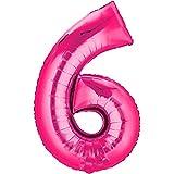 Folienballon - Zahl 6 PINK - XXL 86cm, Zahlen Luftballon + PORTOFREI mgl + Geschenkkarten Set + Helium & Ballongas geeignet. High Quality Premium Ballons vom Luftballonprofi & deutschen Heliumballon Experten. Luftballondeko zum Geburtstag oder Jubiläum. Lustiger Geburtstagsgeschenk Ballon