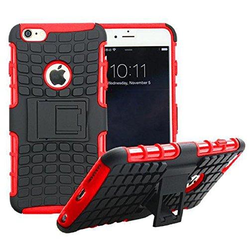 Motif de Tire Téléphone Shell Housse de protection pour iPhone Combo Armure 6 Plus / 6S Case Pone Plus avec Titulaire de soutien, Rouge
