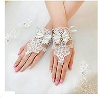 Miya 1paare glamour elegante sposa guanti mano gioielli principessa guanti in Satin punte e Lace, perline cristalli, sposa accessori matrimonio Party, colore:
