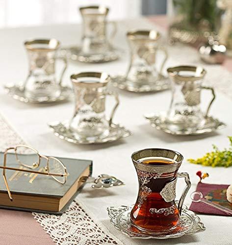 New 2017türkischen Stil Tee Gläser, Tassen Set für 6, wählen Sie Farbe (Silber)
