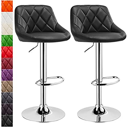 Woltu #288 2 Set Faux Leather Bar Stools with Backs Swivel Bar Stools Kitchen Stools Breakfast Barstools Black Gas Lift Adjustable Seat height:60 to 82cm