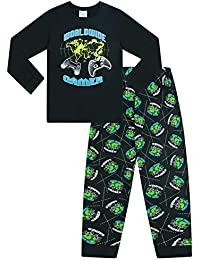 The Pyjama Factory World Wide Gamer Gaming All Over Gaming - Pijama largo de algodón, color negro y verde