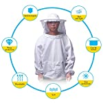ALLOMN Beekeeping Suit Set Beekeeper Tools Beekeeping Equipment with Breathable Suit Jacket Long Sleeve Gloves Bee Hive Brush J Hook Hive (Set of 4 PCS) 12