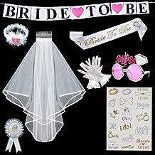 TATAFUN Sposa di Essere Bride to be Satin Sash Giarrettiera Spilla Rosette e  Velo Sposa Matrimonio b1f90eb91f8d