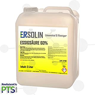 Ersolin 60% Acetic Acid – Descaling Vinegar, Cleaner, Technical – 5 Litres