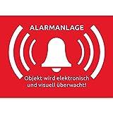 15 Alarmanlage Aufkleber Alarmgesichert 74 x 52 mm Alarmanlagen Aufkleber Wird überwacht - Premium Alarmgesichert Einbruch