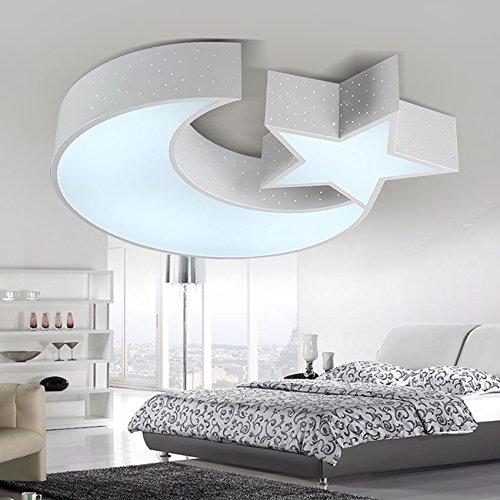 JJ Moderne LED Deckenleuchte Cartoon Kinderzimmer Lampe warm kleines Schlafzimmer Licht kreativ Sterne Mond Zimmer weiße LED 590*490*90mm Deckenleuchte ,220V-240V