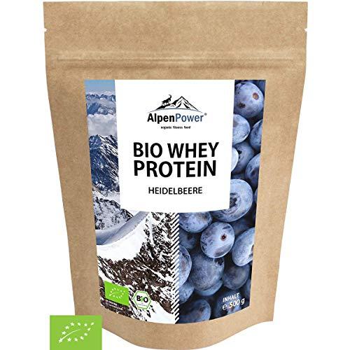 ALPENPOWER | BIO WHEY Protein Heidelbeere | Ohne Zusatzstoffe | 100% natürliche Zutaten | 7 Sorten | Bio-Milch aus Bayern und Österreich | Superfood Heidelbeere | Hochwertiges Eiweiß | 500 g