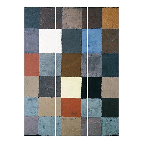 Bilderwelten Schiebegardinen Set - Paul Klee - Farbtafel (auf maiorem Grau) - 3 Flächenvorhänge,...