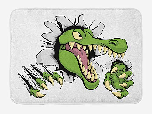 TRAzz Alligator Bath Mat, Cartoon Style Aggressive Reptile Smashing Through a Wall with Long Nailed Claws, Plush Bathroom Decor Mat with Non Slip Backing, 23.6 L X 15.7 W Inches, Multicolor Smashing Jet