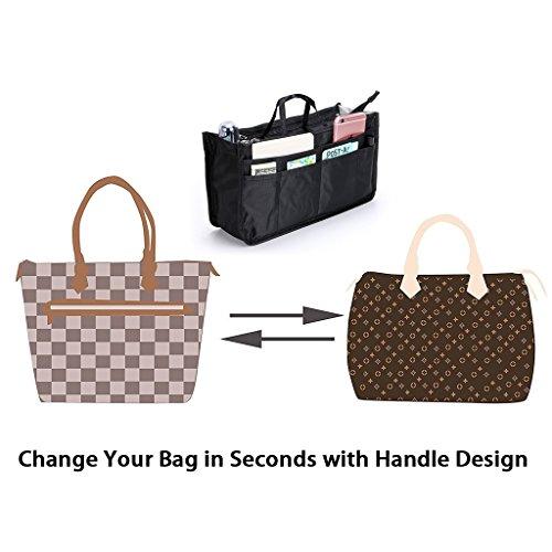 Printed Handbag Organiser Insert with Handle - Black