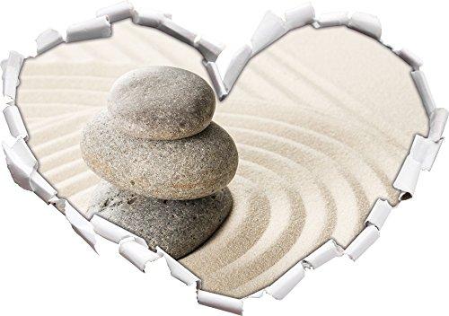 Pietre in sabbia con pattern a forma di cuore in formato sguardo, parete o adesivo porta 3D: 92x64.5cm, autoadesivi della parete, decalcomanie della parete, Wanddekoratio