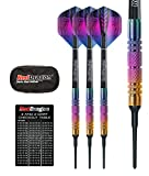 Red dragon Voyager Rainbow Soft Tip 20g Barrel, 22g Full Weight - 90% freccette steel tungsteno con alette freccetta, gambi freccette, astuccio per freccette carta checkout