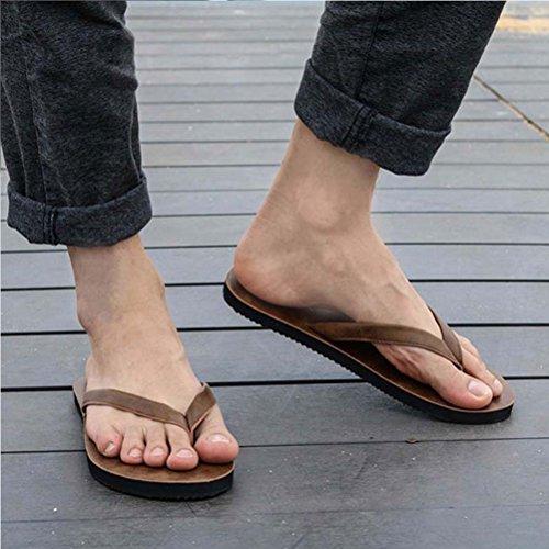 Zhhlinyuan Summer Beach Casual Flip Flops Shoes Cool Men's Flat Slippers 11002 Brown