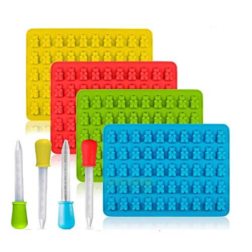 TOMYEER Süßigkeiten-Silikonformen & Eiswürfelformen Gumdrop Gelee-Formen, 4 Stück