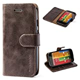 Moto G 1st Gen Case,Mulbess Leather Case, Flip Folio Book