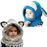 Sunroyal [2 pezzi] Inverno caldo Coif Cappuccio Sciarpa Cap Cappello Earflap Fox scialli di lana lavorato a maglia cappelli della protezione per il bambino scherza ragazzi delle ragazze (Grigio e Blu)