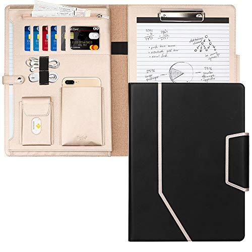 Toplive Schreibmappe A4 Konferenzmappe PU Leder Ordner Klemmbrett Dokumentenmappe, Kartenfächer, Visitenkartenetui- Perfekt als Konferenzmappe 32,7 * 24,3 * 2,2 cm, schwarz (Datei-ordner Schwarz Und Gold)