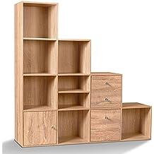 idmarket meuble de rangement escalier 4 niveaux bois faon htre avec porte