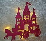 Schlummerlicht24 led Wand-Bilder Nachtlicht Lampe Prinzessin Pferde-Kutsche Name, Geschenke für Mädchen Märchen-Zimmer