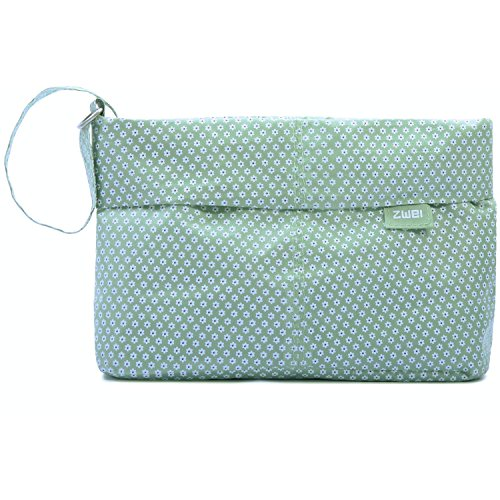 2 Necessaire N2 Borsa Sacchetto 24 cm - ca 28x15x9cm, tessuto, Verde Grigio (grigio)