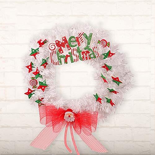 Huichanghuayi Guirnalda de Navidad de Estrellas de Malla Blanca con Lazo de...