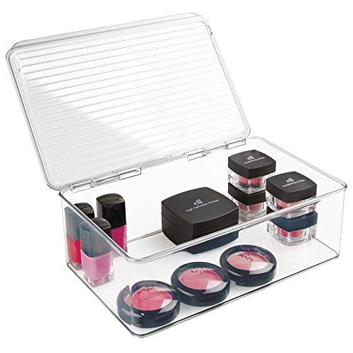 mDesign Kosmetik Organizer - hohe Kosmetik Aufbewahrungsbox mit Deckel - die perfekte Schminkaufbewahrung für Nagellack, Puder etc. - transparent -