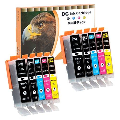 D&C 10x Druckerpatronen Kompatibel für Canon PGI-550 XL CLI-551 XL für Canon Pixma MG7550 MX925 iP7200 iP7250 MG5400 Series MG5450 MG5550 MG5650 MG5655 MX725 MX920 iP8750 iX6850 MG6350 MG6450 MG6650