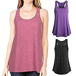Wawer Women's Sports Vest Tops, Summer Sleeveless Yoga Sports Tank,Flowy Cotton Racerback Blouse Tee T-Shirt for/Daily/Party/Daily/Beach,S-XL from Wawer